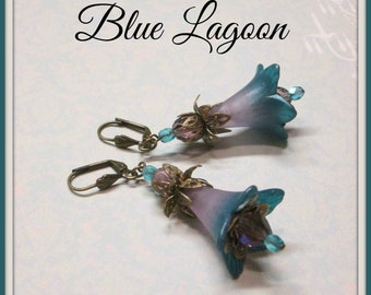 BLUE LAGOON Lucite Trumpet Flower Earrings, Victorian Earrings, Teal, Amethyst, Bridesmaid Earrings, Czech Crystals, Handmade, Ravengirl