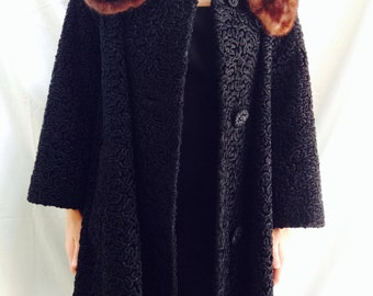 Astrakin® styled by Lepshire Faux Persian Lamb and Mink Coat