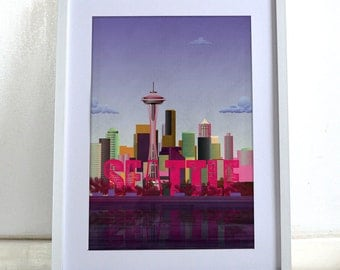 Seattle City Poster Wall Art Print