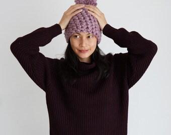 Lilac Chunky Pom Pom Hat