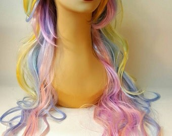Mermaid, Unicorn, Long Wavy Pastel Rainbow Wig, Rainbow Wig, Unicorn, Long Wavy Rainbow Wig, Long Mult-Colored Wig