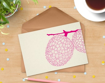 Lychees card - Letterpress notecard - Blank notecard - geometric print art - geometric pattern - flat note - heavy stock cotton paper