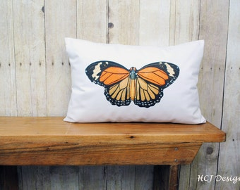 Monarch Butterfly Pillow, Personalized Pillow, Spring Home Decor, Cottage Chic Home Decor, Country Home Decor, Decorative Pillow.