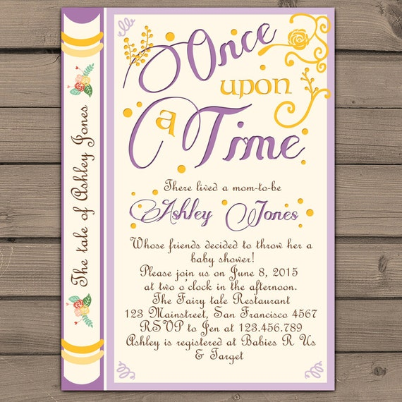 once upon a time baby shower invitation shower invite purple yellow