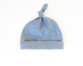 final sale ! organic knottie baby hat | blue-gray heather | 12-24 months