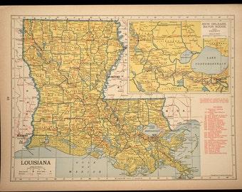 Louisiana Map Louisiana Railroad 1940s Original Yellow