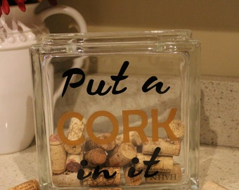 Wine Cork Holder Glass Block Wine Cork