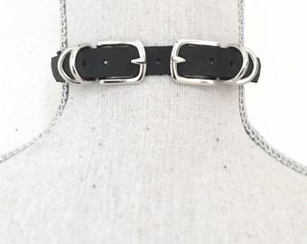 Handmade double buckle leather choker