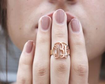 30% OFF! Monogram Ring • Custom Initials Ring • Name Ring • Personalized Monogram • Wedding Gift • Bridesmaid Gifts • Wedding Jewelry • RH04