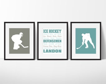 Ice Hockey Gift under 20 - Ice Hockey Player Wall Art - Boys Hockey Bedroom - Boy Sports Decor - Ice Hockey Print - Teen Room - Set of 3