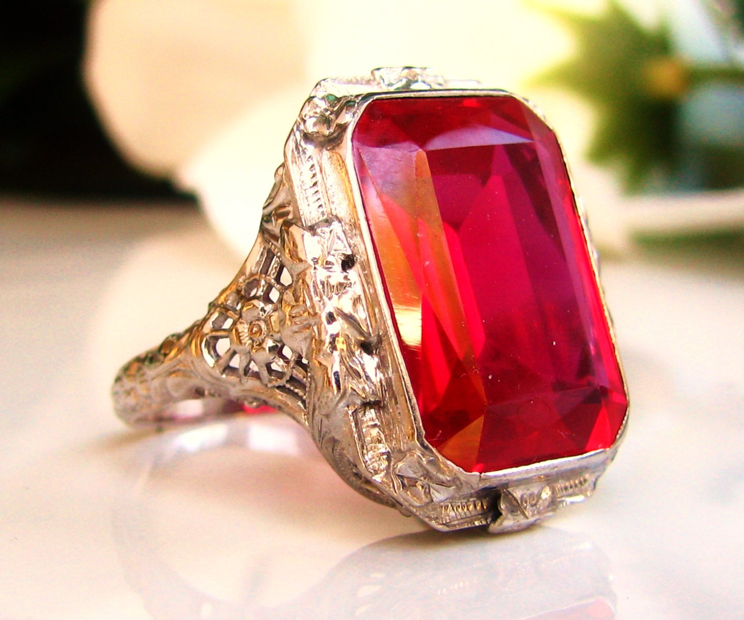 Vintage Emerald Cut Ruby Ring by LadyRoseVintageJewel