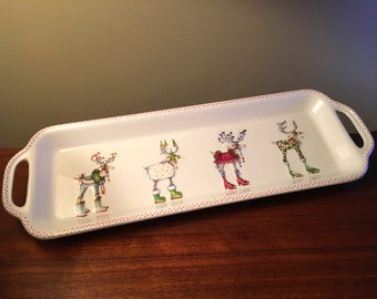 Whimsical reindeer tray by Department 56