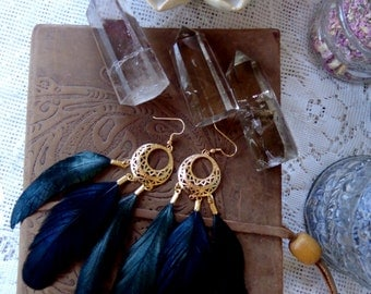 Ornate Gold Plated Circle and Green Iridescent Rooster Feather Earrings