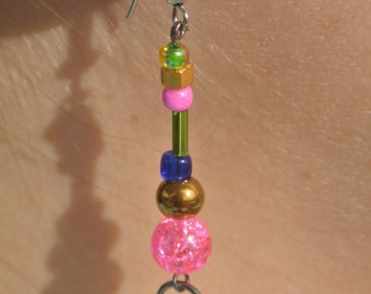 Pink/green/gold glass beaded earrings