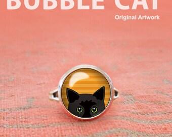 Halloween Ring, Peeking Black Cat Ring, Cat Adjustable Ring, Glass Dome Ring, Orange Black Statement Ring, Yellow Eyed Cat