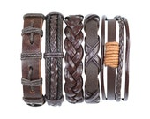 5 Piece Men's Women's Handmade Leather Bracelet Set Mens Leather Set Womens Leather Set Braided Leather Braclet BST-427