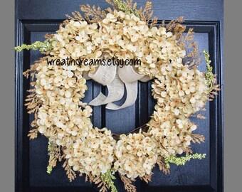 BEST SELLER! Antique White Hydrangea Wreath. Burlap Wreath. Year Round Wreath. Spring Wreath. Summer Wreath. Monogram Wreath. Door Wreath