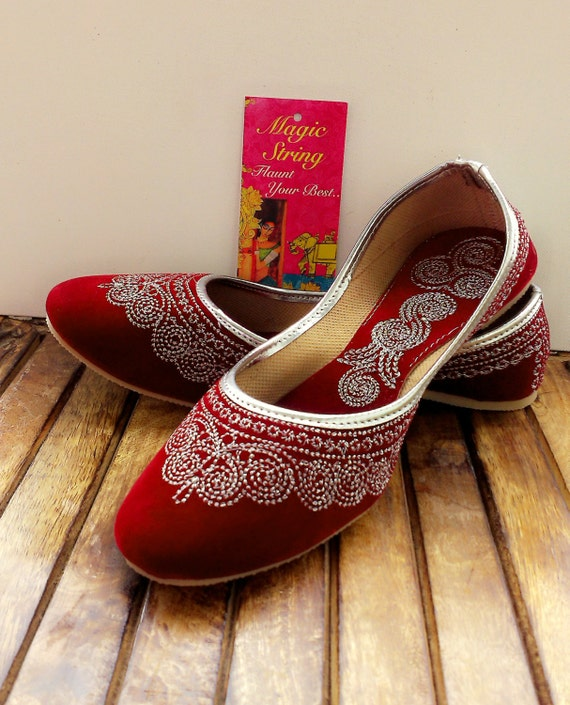 Maroon Wedding Shoes/US Size 7.5/Velvet Shoes/Silver