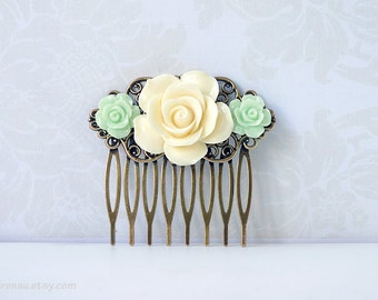 Ivory cream hair comb apple green rose flower floral filigree hair comb, bridesmaid flower comb white, bridal vintage wedding accessory