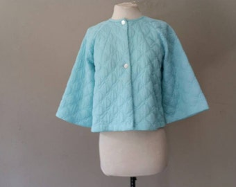 S / Quilted Nylon Bed Jacket / Pale Blue / Small / Vintage Pajama Top by Prom'n Nod / FREE USA Shipping
