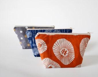 Orange cosmetic pouch, oriental bridesmaid gift, makeup bag, medium zipper pouch, make up pouch