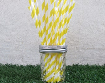 Yellow Diagonal Striped Paper Straws (25 straws/pack)