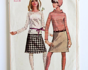 """Vintage 60s Simplicity sewing pattern - Bust 36 """" Misses size 16t mod beauty - skirt blouse hat stockings"""