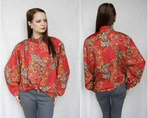 Floral blouse Red Paisley bright flower blouse Boho Bohemian Vintage womens Clothing High Neck Collar long sleeve size 42