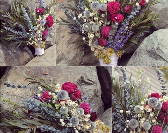 custom dried bridal bouquet, dried lavender bouquet, woodland bridal bouquet, wildflower bouquet, unstructured bouquet, peony bouquet, blue