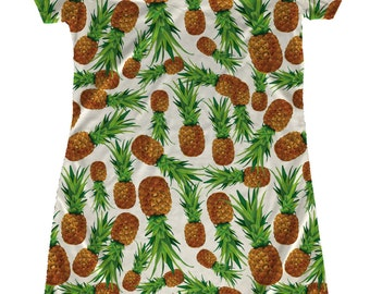 Pineapple Dress_This soft T Shirt dress will be a colorful addition to your wardrobe.