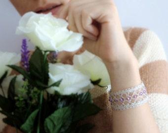 Swarovski Statement Cuff Lace Bridal Cuffs Lace Bracelet Bead Cuff Bracelet Lace Cuff Silver Lace Wrist Cuff Knit Jewelry Elsa Costume Adult
