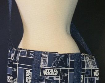 Blue Star Wars Messenger Bag with Batik Lining and Large Pockets