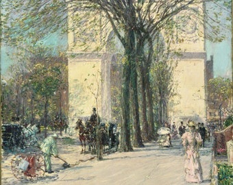 Washington Arch, Spring by Childe Hassam, in various sizes, Giclee Canvas Print