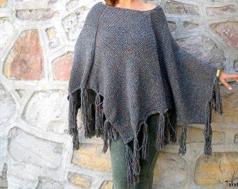 Gray Poncho,  Tweed Effect Poncho, Fringe Ponchos, Poncho Sweater, Women Accessories, Hand Knit Poncho,  Boho Poncho, Asymetrical Sweater