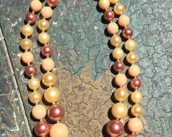 """Vintage Pastel Beaded multi strand Necklace Adjustable Peach 14"""" - 15.5"""""""