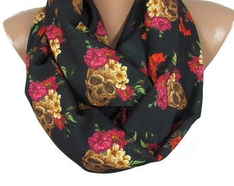 Skull Scarf Day of The Dead Scarf Dia de los Muertos Infinity Scarf Frida Kahlo Women Fashion Accessories Christmas Gift For Her Steampunk