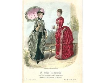 Mode de Paris #40, La Mode Illustrée, Hand Colored French Lithographic Print, 1884, Mme de Coussinet