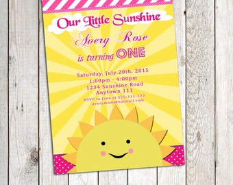 You are my Sunshine invitation Birthday Party Personalized Printable, Little Sunshine Birthday, 1st Birthday, any age,Wording customization