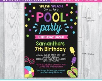 Kids Pool Party Invitation, Pool Party Invitation, Pool Invitation, kids pool birthday, Pool birthday invitation, Pool Printable, girl pink