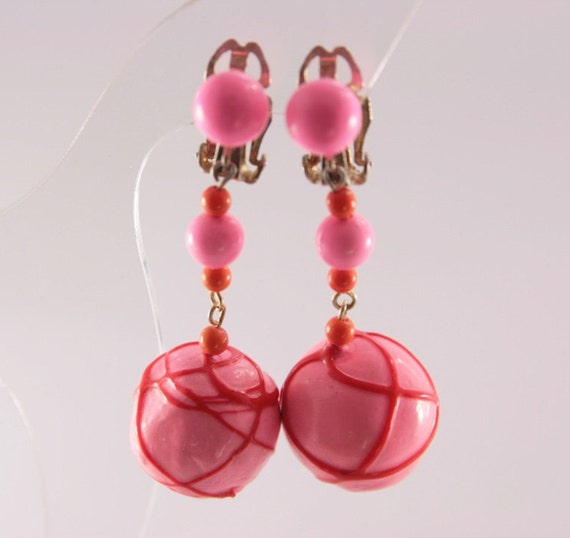 Hot Pink Earrings Drop Dangle Vintage Clip On Earrings Fashion
