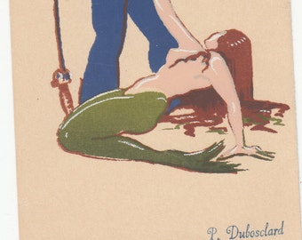 The Fisherman And The Mermaid Serigraph Postcard Dubosclard Pub. Sheehan Topanga