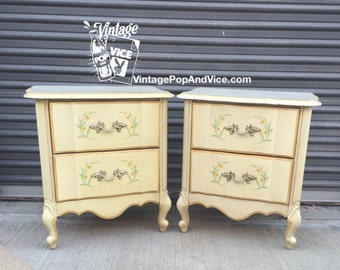 SOLD Set of French Provincial Nightstands, Pair of night stands, Bedside Tables, Bedside Table Pair, Side Table, Nightstand Pair, End Tables