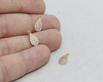 Shiny Gold Drop Pendant, Micro Pave Drop , Cz Jewelry, Cubic zirconia Drop , zrcn237