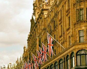 London Photography, Black and White, Harrods, Union Jack, British Flags, Architecture, London Print, Travel Photo, red, gold, Wall Art