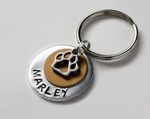 "1"" Hand Stamped Aluminum dog ID tag with bronze tag and small paw print charm, 14ga, dog collar accessory"