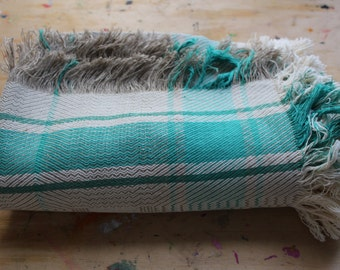 Unused Vintage Linen Woven Throw Blanket Bedspread Bed Cover Coverlet Linen Plaid Beach Rug Picnic Blanket with Fringes