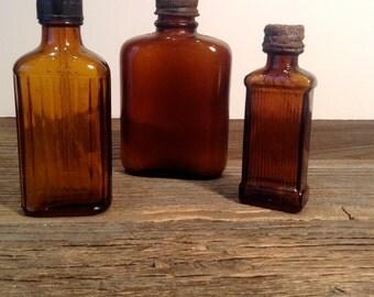 Vintage Brown Medicine Bottles, Antique Amber Medicine Bottles, Small Medicine Bottles
