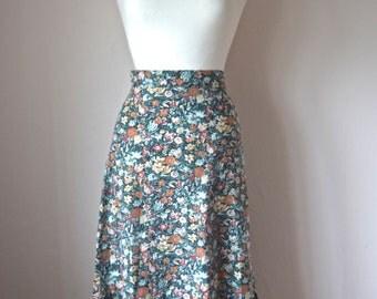 SALE //// Floral Vintage Skirt Green, Orange, X Small, Hippy, Boho, Festival, Folk