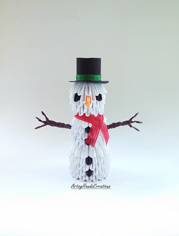 3d origami snowman origami 3d snowman origami snowman paper for How to make snowman with paper