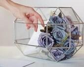Wedding Card Box, Wish Well Box, Terrarium Decor, Guest Book Alternative, Geometric Glass Card Box, Conservatory Envelope Holder, Money Box